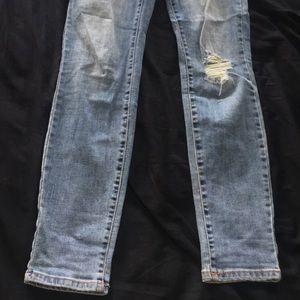 medium blue, skinny ripped jeans